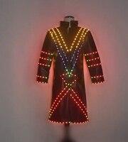 Красочный свет куртка диджея вечерние Подиум носит одежду dj dresss люминесцентный светящийся наряды бар производительность рейв клуб