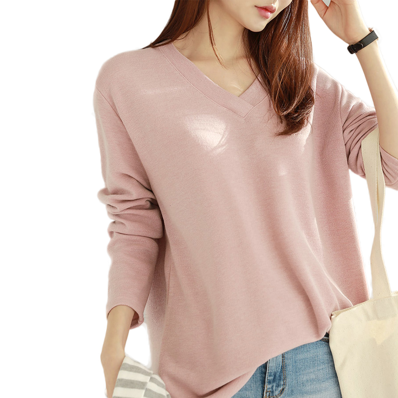 100% cotton 2018 new women cotton t shirt v neck long sleeve loose soft knitted t shirts long comfortable tops