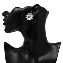 Women's Cute Flower Shaped Stud Earrings with Colorful Crystals
