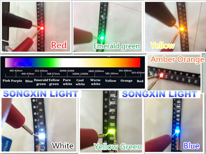 7000pcs 0603 SMD LED Assortment Red Green Blue Yellow White Emerald green Orange 200pcs each SMD