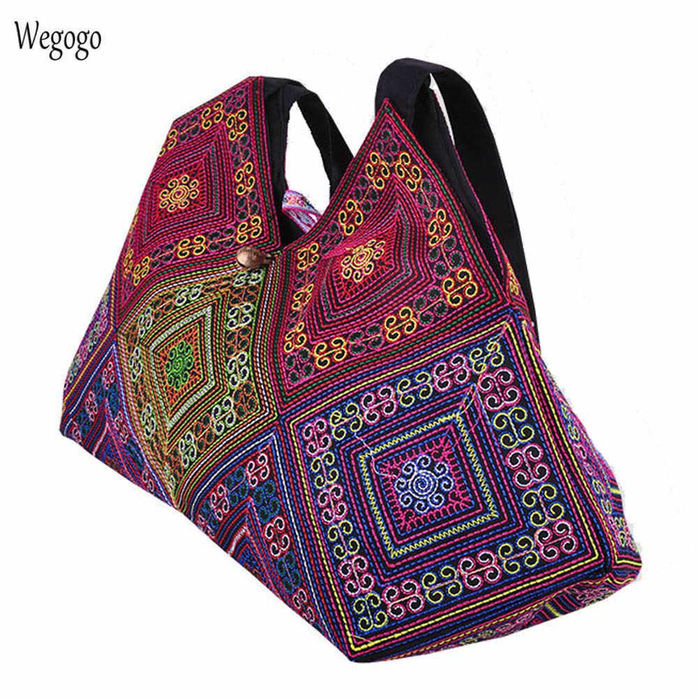 a6897ab42229 Vintage Women Handbag Ethnic Embroidery Shoulder Bag Lady Vietnam Cross  stitch Canvas Totes Travel Beach Bags