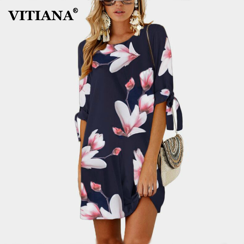 VITIANA Women Short Beach Casual Pencil Shirt Dress Female 2018 Summer Black Print Loose Elegant Mini Party Dresses Vestidos