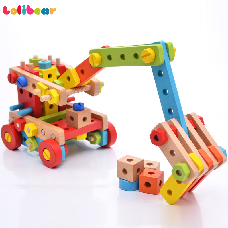 138Pcs Wooden Assembly Screw Blocks Toys Nut Multi-Styles Airplane Robot Brain Training Educational Building Kits For Kids Gift