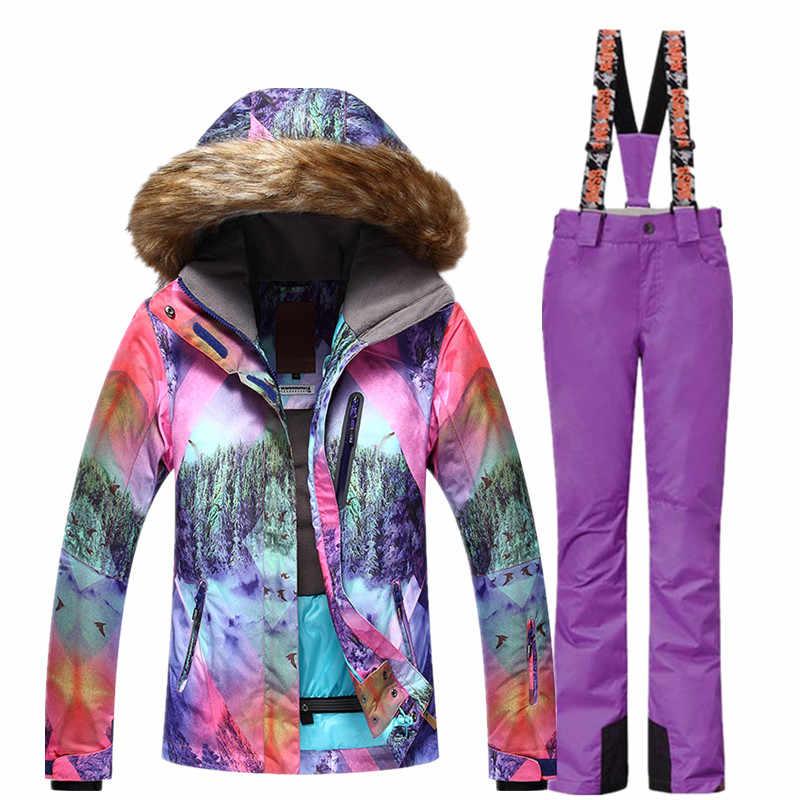 Gsou Winter-35 Độ Cho Phụ Nữ Trượt Tuyết Phù Hợp Với Nữ Bằng Ván Trượt Phù Hợp Với Không Thấm Nước 10000 Siêu Ấm Ski Áo + Quần Thể Thao Ngoài Trời
