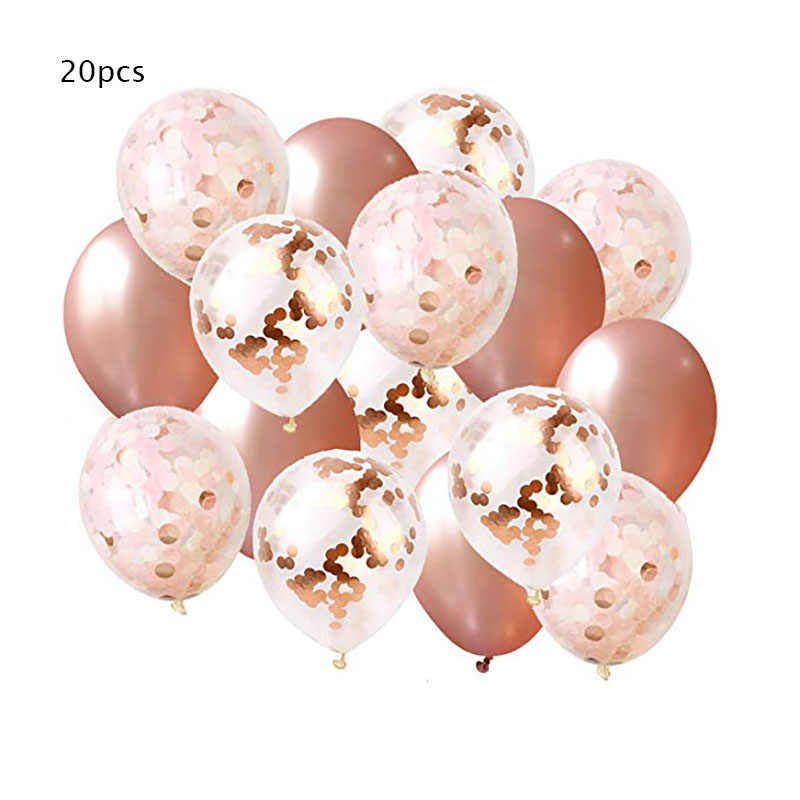 20pcs Rose Gold Balloons & Champagne Gold Confetti Balloons 12 inch Premium Quality Balloon for Babyshower Girl, Bridal Shower