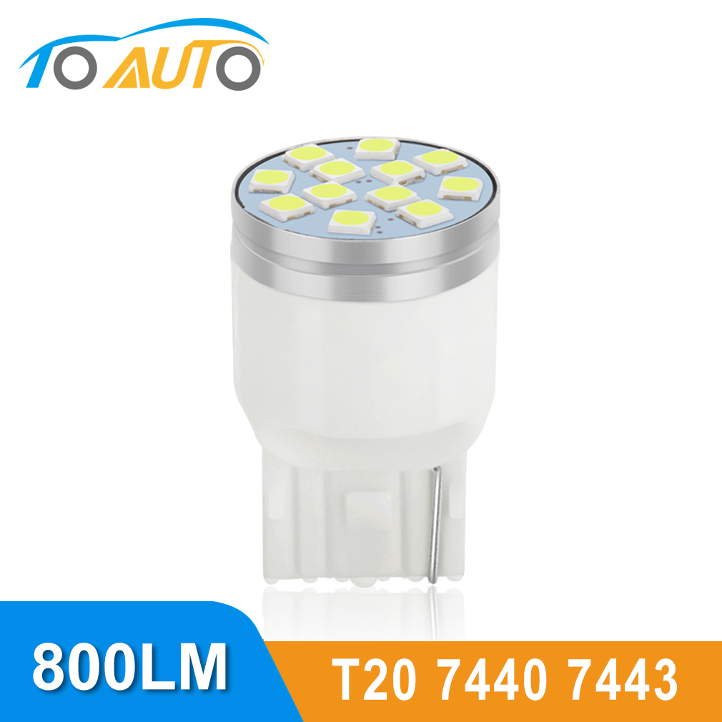 T20 светодиодный 7443 7440 W21/5 Вт W21W светодиодный лампы WY21W Автомобильная сигнальная лампа стоп-сигналы DRL авто светодиодные лампы 12V 6000K; Цвета бел...