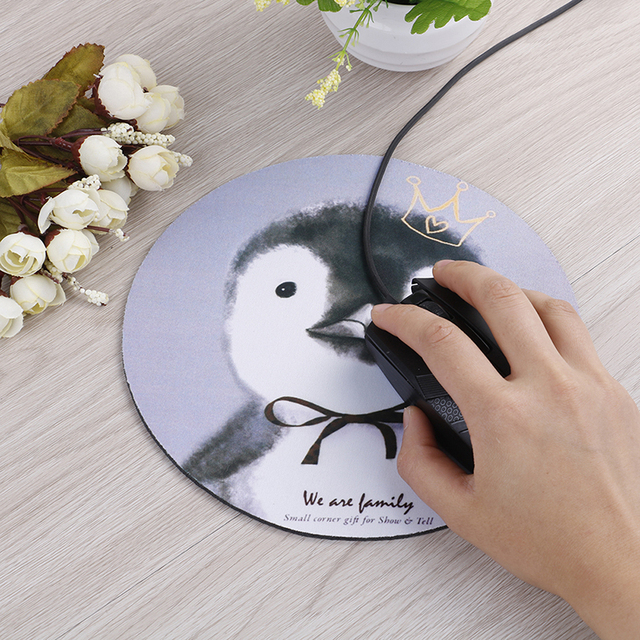 1pcs Cartoon Animal Pattern Mouse Pad Round Mousepad Office Mice Pad Rubber Home Computer Anti-slip Table Mat Study Room PC