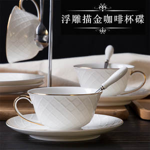 2019 Relief European Handmade Gold Coffee Cup and Saucer Set Pottery Bone Porcelain Flower Tea Cup Afternoon Black Tea Gift