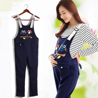 Maternity Clothing Pants Spring Autumn Cartoon Owl Cotton Plus Size Overalls Pregnant Women S Large Size