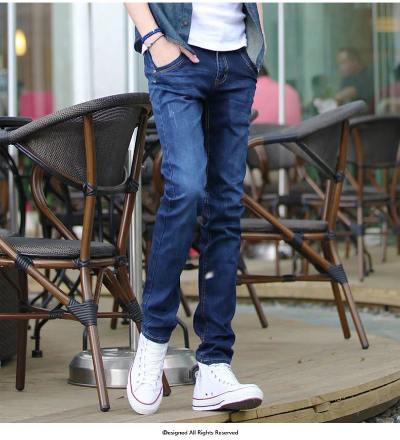 pants men slim feet male youth Fashion Brand Winter men color retro stretch jeans  top quality WY988