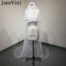 JaneVini 2019 Bride To Be Veil Long 3 Meters Bruidsaccessoires 2-Layer Simple Bridal Wedding Dress With Comb Ribbon Edge