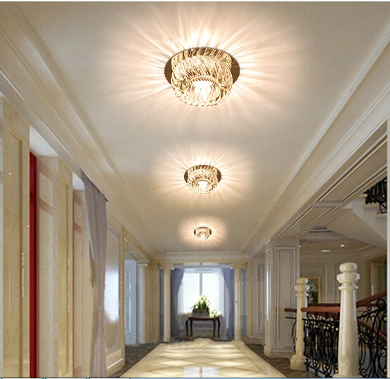 New Led Spotlights Ceiling Aisle Lights Corridor Decorative Lamps Living Room Lamp Crystal Downlight Full Set Of Holes In From