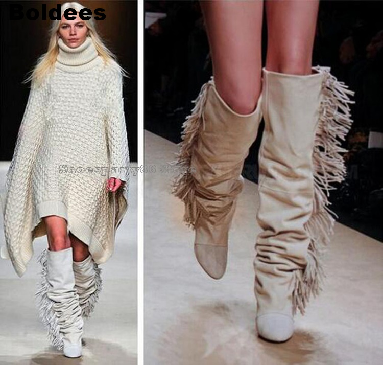 Knee High Suede Fringe Boots Women Platform Wedged Heeled Long Pointed Toe Boots Fashion Women Motorcycle Tassel Boots tassel suede leather knee high women winter boots fashion folded design tassel block heeled booty