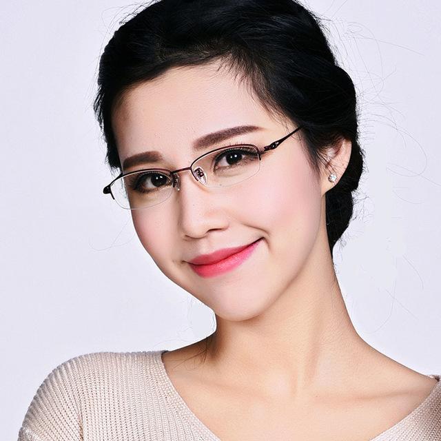 Titanium óculos de meia armação acético óptico miopia das mulheres do vintage projeto eyewear gafas oculos de grau feminino