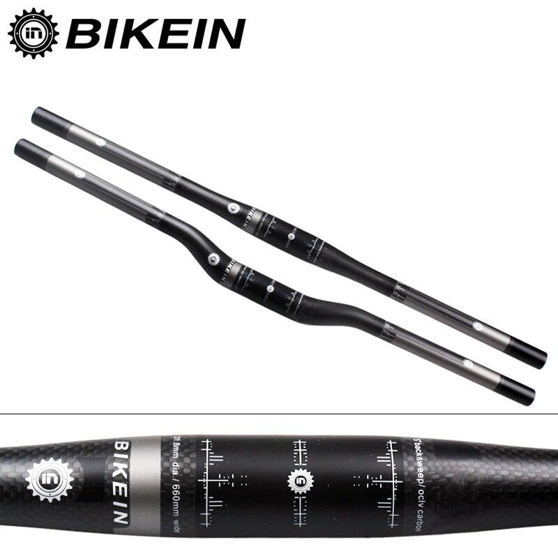 BIKEIN RXL Ultra Light Full 3k Carbon Fibre MTB Flat Rise Handlebar 135g Cycling Mountain Bike