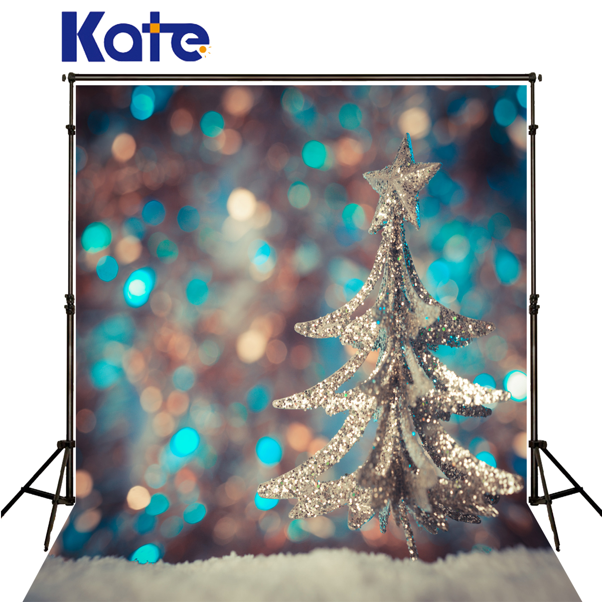 Kate Christmas Photo Backgrounds Blue Light Spot Fond De Studio De Snow Silvery Tree Photography Backdrops For Photo Shoot