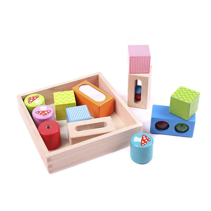 Early Learning Educational Wooden Noise Block Montessori Toys For Children Mirror Bell Blocks Intelligence Block CL0264H montessori baby toys multicolor wooden stick digital blocks education wooden toys early learning