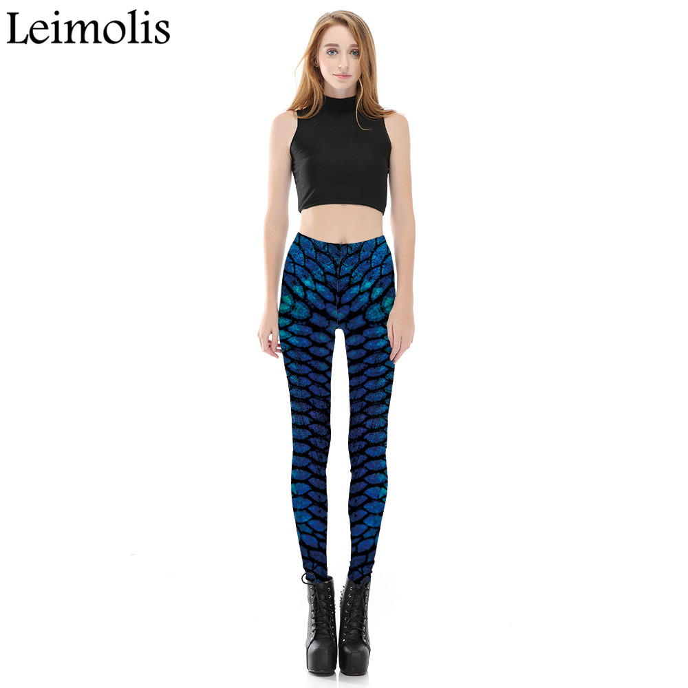e6a4170b6b6 Leimolis 3D printed fitness push up workout leggings women gothic Cobra  Blue scale plus size High Waist punk rock pants-in Leggings from Women s  Clothing on ...
