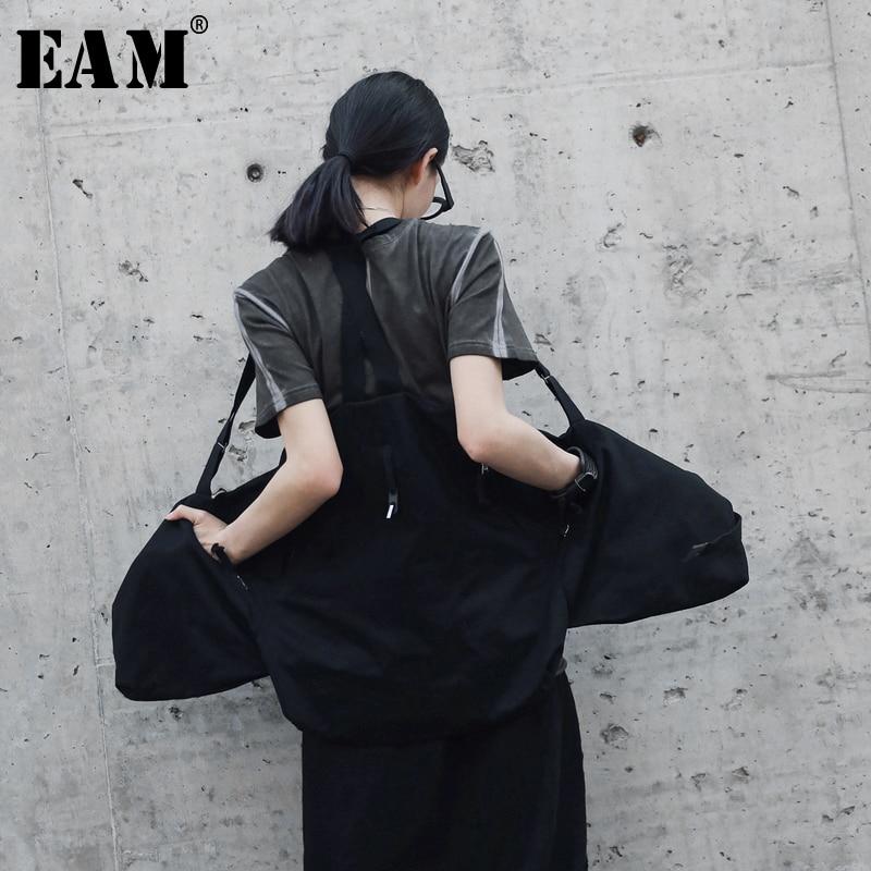 [EAM] 2018 Новые осенне-летние модные прилив простые черные универсальные регулируемый пояс карманы блестками женские ремень жилет S604