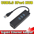 fshaion Wholesale Price 3 Port USB 3.0 Hub 10/100/1000 Mbps to RJ45 Gigabit Ethernet LAN Wired Network Adapter For windows Mac[]