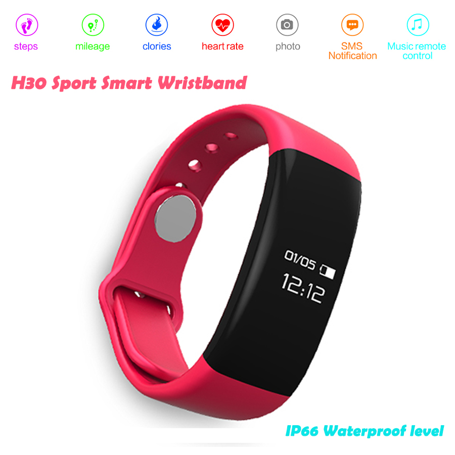 H30 Smart Watch Bracelet IP67 Waterproof Swim Bluetooth 4.0 Touch Screen Heart r