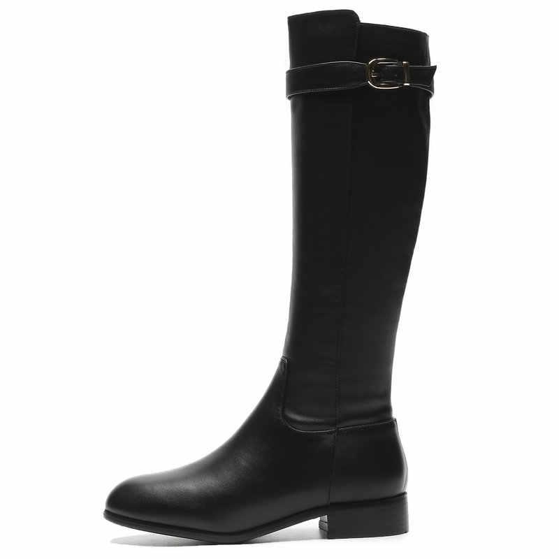 Delle donne di Lusso In Pelle Al Ginocchio Stivali di Modo di Comfort scarpe a Tacco Basso Stivali Da Moto Donna Punta Rotonda Scarpe Da Donna Nero Scarpe Invernali 42