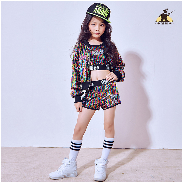 Chicas colores lentejuelas de baile Jazz Hip Hop danza disfraces Tops  pantalones moderna del cabrito partido 43446d71a0e