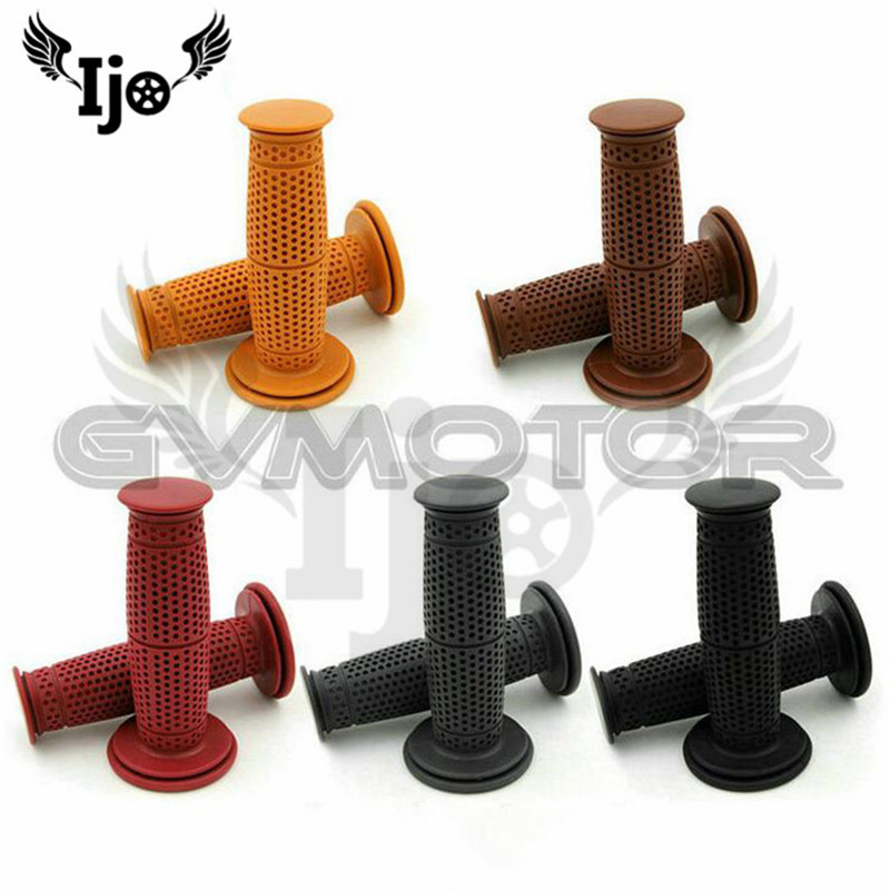 5 colors cafe black red retro rubber motorbike grip for harley handlebar 24MM 22MM unviersal moto accessories motorcycle grips