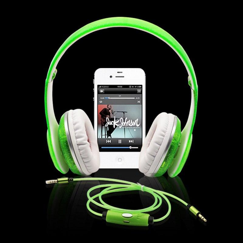 Мода Видимый течет светодиодной вспышкой стерео Glow Спорт гарнитура наушники с микрофоном для Xiaomi iphone Samsung Ipod MP3