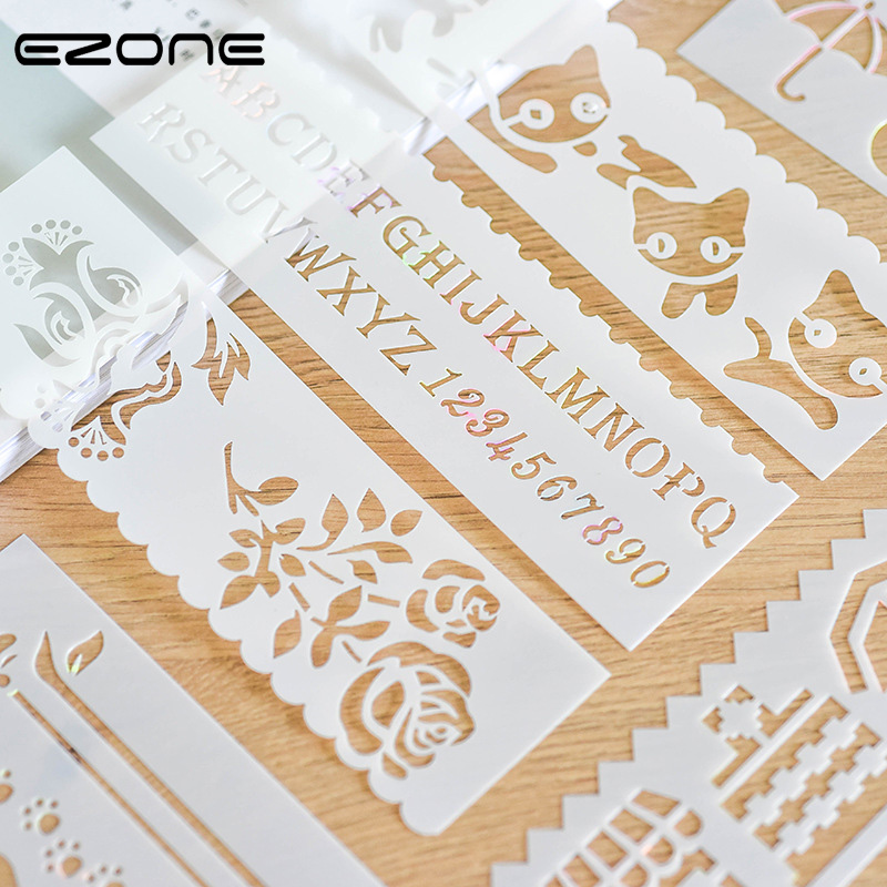 EZONE 8 PCS Drawing Rulers Animals/Car/Leaves/Flower/Ship Can Printed Hollow Template Stamp For Children DIY Scrpbook Art Supply