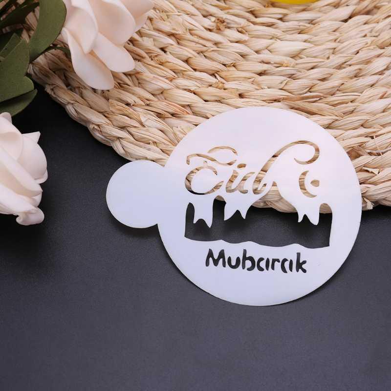 OOTDTY di Alta Qualità 3 pz PET Moschea Eid Mubarak Ramadan Disegno Caffè Stencil strumento di decorazione della torta