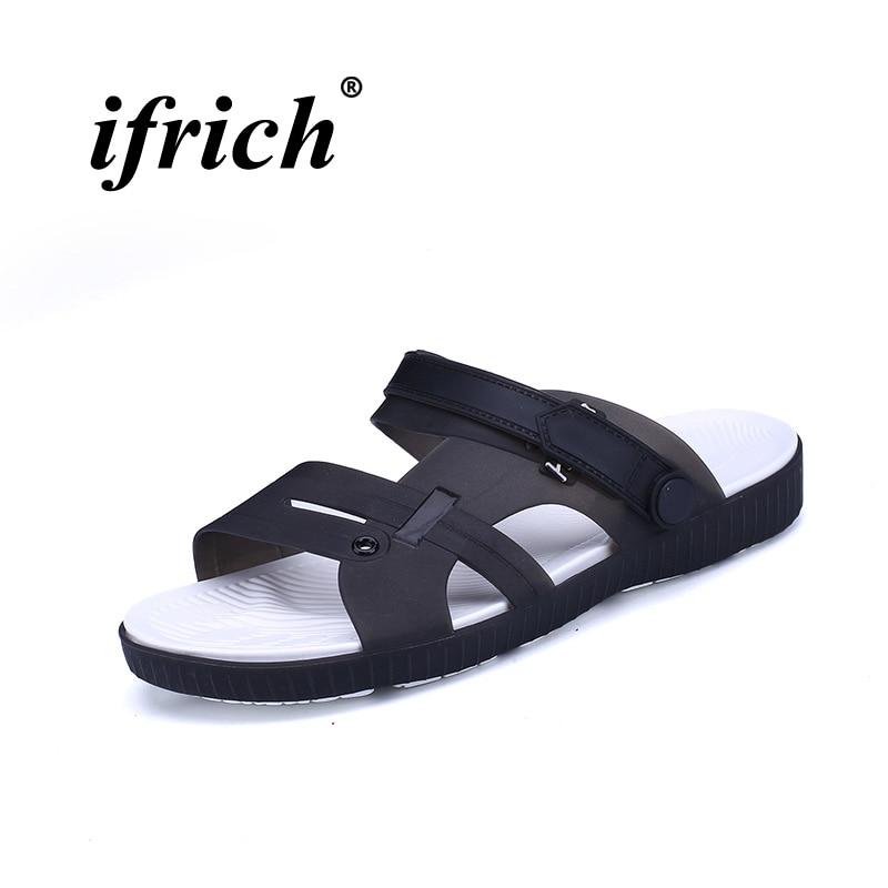 Plastic Beach Shoes Men Rubber Bottom Sandals Slide For Men Anti-Slippery Soft Massage Beach Slippers Classic Flats Slippers