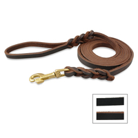 Real Leather Dog Long Leash Braided Pet Lead Prevent Bite Black And Brown