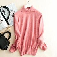 Чистый козел кашемировые женские модные база пуловер свитер 2ply Высокий воротник бежевый розовый 6 цветов высокого качества S 3XL