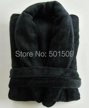 Para hombre negro / gris de microfibra albornoz túnicas súper blando de dormir núcleo de fibra natural de vellón más el tamaño de microfibra