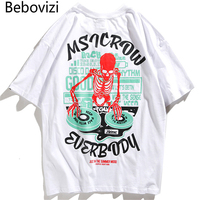 Bebovizi Brand Hip Hop Casual Male Tshirts 2018 Summer Rock Skeleton DJ DJing Printed Tops Tees Mens Street Loose T Shirts