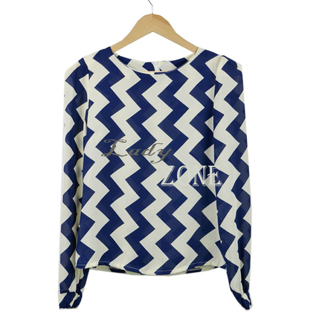 Korea Women Blue White Wave Printing Long Sleeve Chiffon Pullover Blouse Shirt Tops 12889