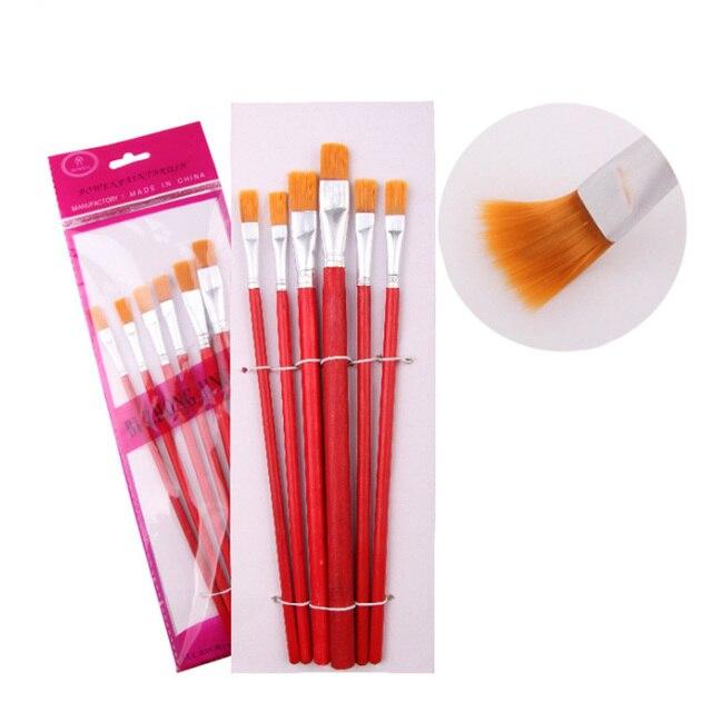 6 piezas Juego de pinceles de pintura de pinceles cortos dibujo rojo suministros de arte niños estudiantes acuarela Guache pinturas de yeso