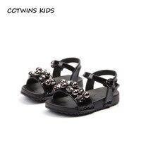 CCTWINS KIDS 2018 Summer Toddler Barefoot Rhinestone Sandal Baby Girl Fashion Pu Leather Shoe Children Black
