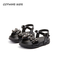 CCTWINS KIDS 2018 Summer Toddler Barefoot Rhinestone Sandal Baby Girl Fashion Pu Leather Shoe Children Black