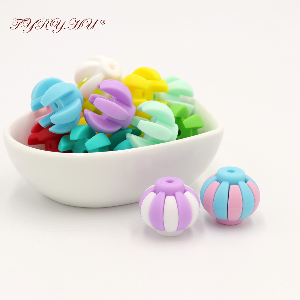 TYRY.HU 10pc Silicone Teething Beds Baby Teether Beads  Nursing Silicon Baby Teething Necklace Accessories Bpa Free 19*17mm