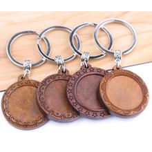reidgaller 3pcs wood keychain cabochon base settings 25mm dia round blank bezel trays for key chain custom making diy findings