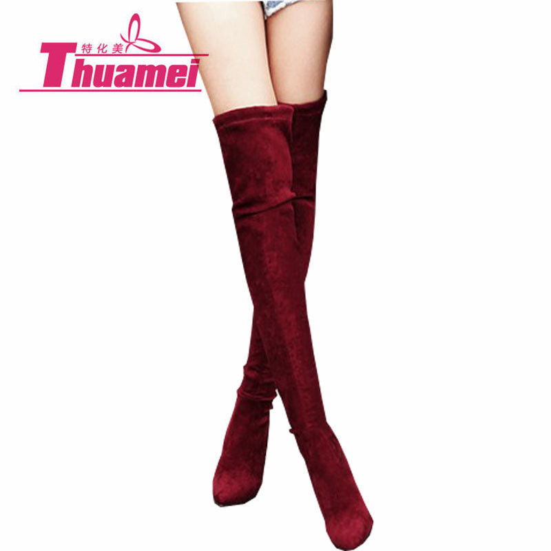 233a39a9fec US $28.8 50% OFF|Faux Suede Slim Boots Sexy over the knee high women snow  boots women's fashion winter thigh high boots shoes woman #Y0727825F-in ...