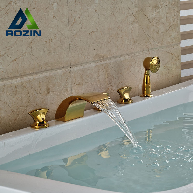 Widespread Golden Brass Waterfall Bathtub Faucet Bath Tub Filler Mixer Taps Deck Mount  + Handshower luxury golden brass bathtub mixer faucet taps widespread single handle waterfall tub filler