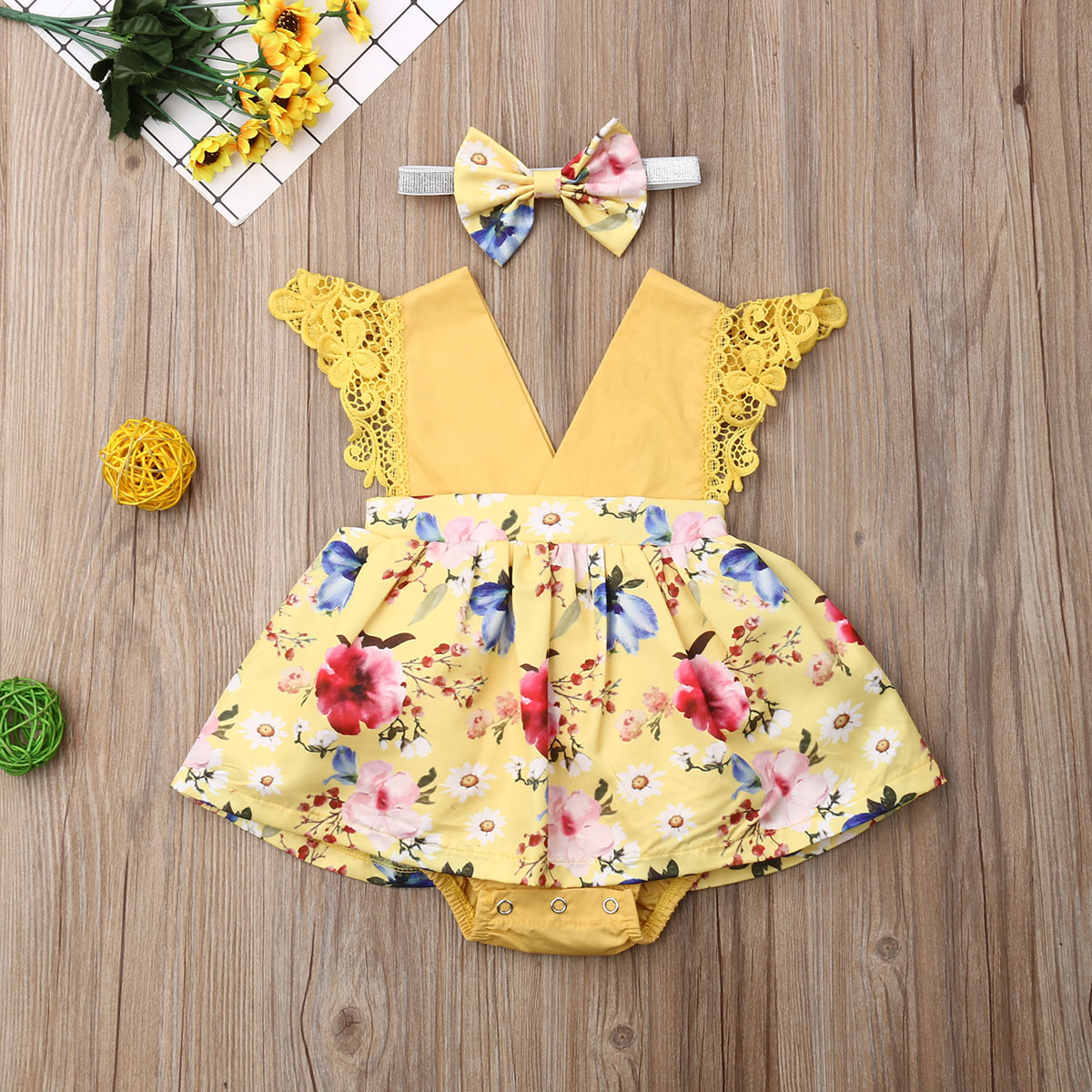 Pudcoco Newborn Baby Girl Clothes Lace Fly Sleeveless Flowr Print Romper Dress Headband 2Pcs Outfits Clothes Summer
