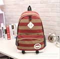 2015 New woman striped backpack Korean ladies preppy women patchwork schoolbag fashion canvas mochila escolar backpacks rucksack