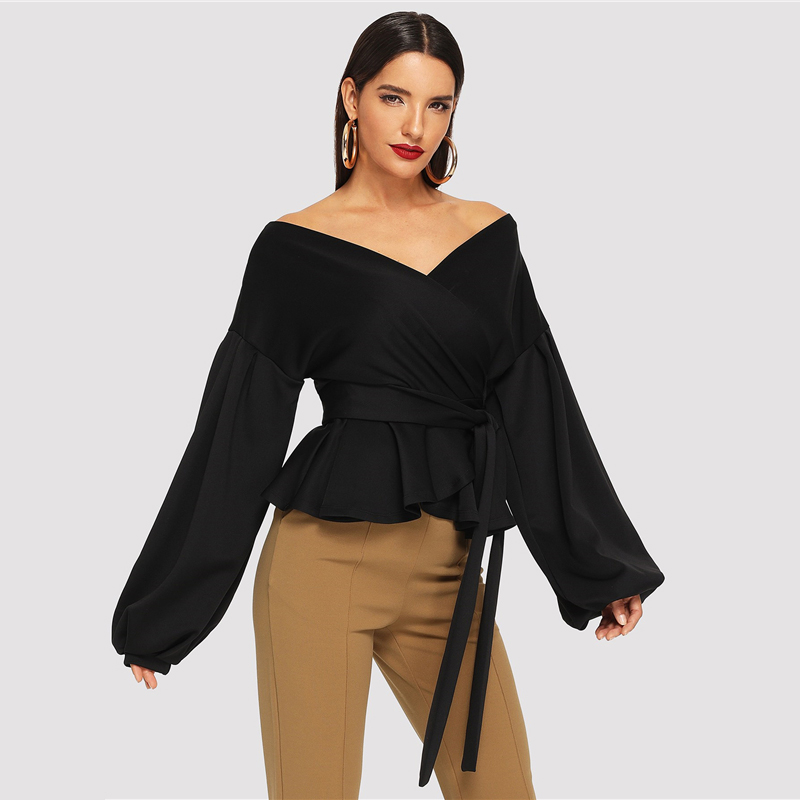 SHEIN White Office Lady Elegant Lantern Sleeve Surplice Peplum Off the Shoulder Solid Blouse Autumn Sexy Women Tops And Blouses 18