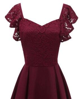 Burgundy A-line Vintage Lace Dress