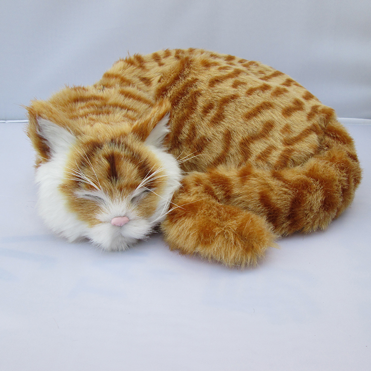 ФОТО simulation sleeping cat lifelike handicraft yellow cat doll gift about 29x10x31cm