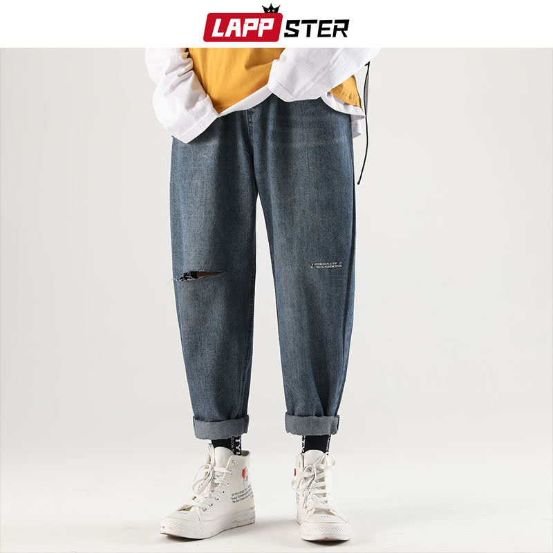 LAPPSTER Men Streetwear Ripped Jeans Pants 2019 Man Hiphop Blue Denim Pants Male Korean Fashion Designer Jeans Pants Regular Fit